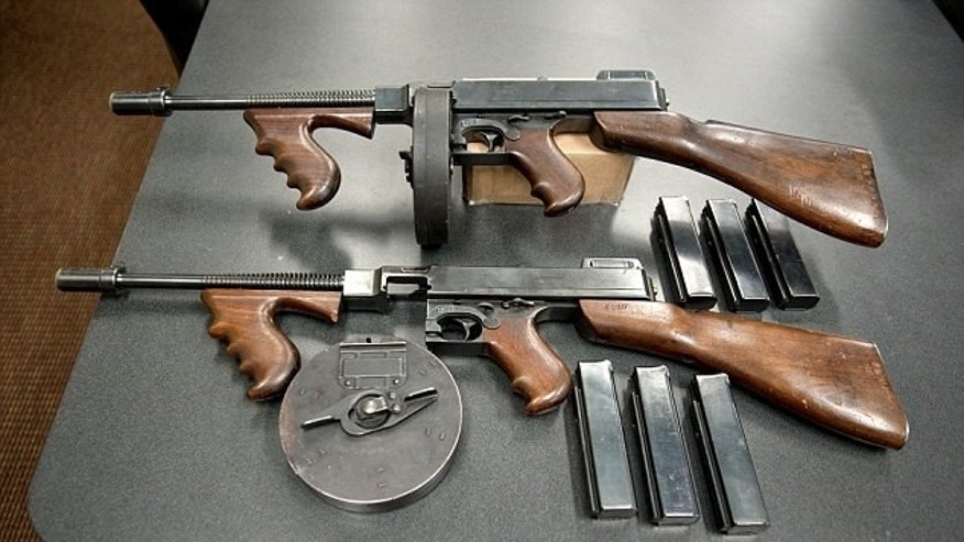 Two Thompson vintage submachine guns from the 1920s.