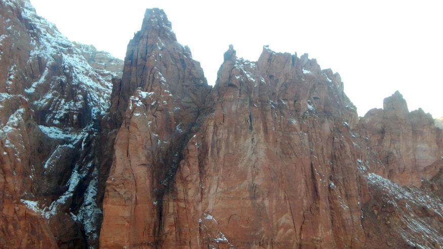 This Wednesday, Jan. 13, 2016 photo provided by the Arizona Department of Public Safety shows an area of the Paria Canyon-Vermilion Cliffs Wilderness in Marble Canyon, Ariz., a rugged, desolate landscape that is hard to navigate, where a California man died while wingsuit flying among the remote cliffs on the Arizona-Utah border, authorities said.