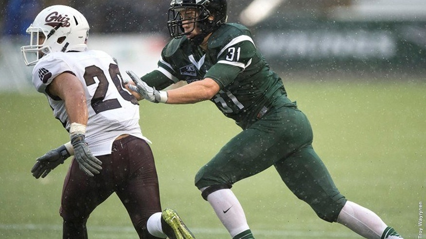 Oct. 31, 2015: This photo shows Portland State University linebacker AJ Schlatter in action against the Montana Grizzlies. The school announced that Schlatter died at his home in Camy, Ore. Sunday, Jan. 17, 2016. (Portland State University)