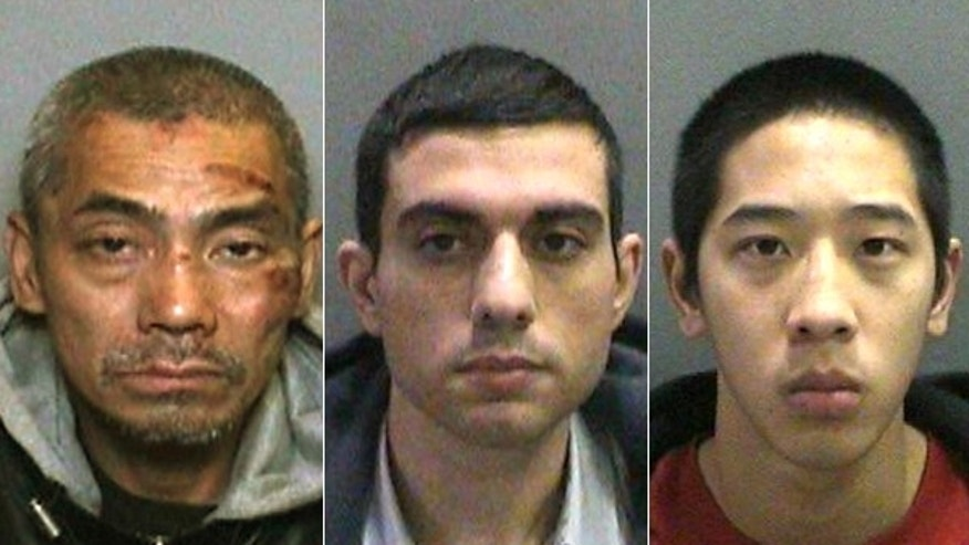 Pictured from left to right are the inmates who escaped from a Southern California prison: Bac Duong, Hossein Nayeri, and Jonathan Tieu.