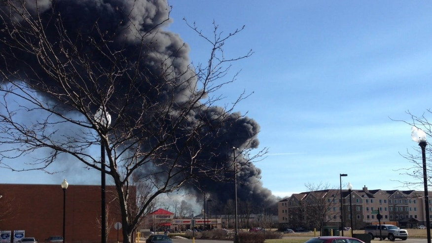 Jan. 30, 2016: Smoke rises from a large fire in Lexington, Ky.