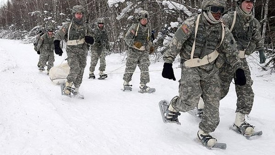 Jan. 27: U.S. soldiers take part in a Winter Games competition event at Fort Wainwright, Alaska. (John Pennell/U.S. Army)