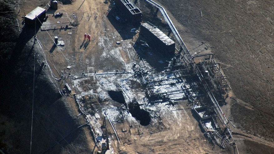 Dec. 17, 2015: This photo provided by Earthworks shows an overhead aerial view of the relief well at the Aliso Canyon facility above the Porter Ranch area of Los Angeles. (Pete Dronkers/Earthworks via AP)