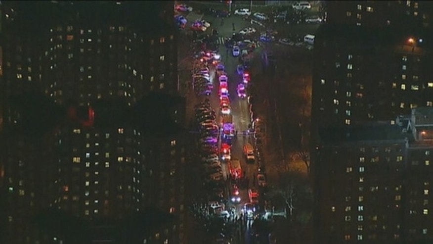 Two New York Police Department officers were shot in a public housing complex Thursday night.