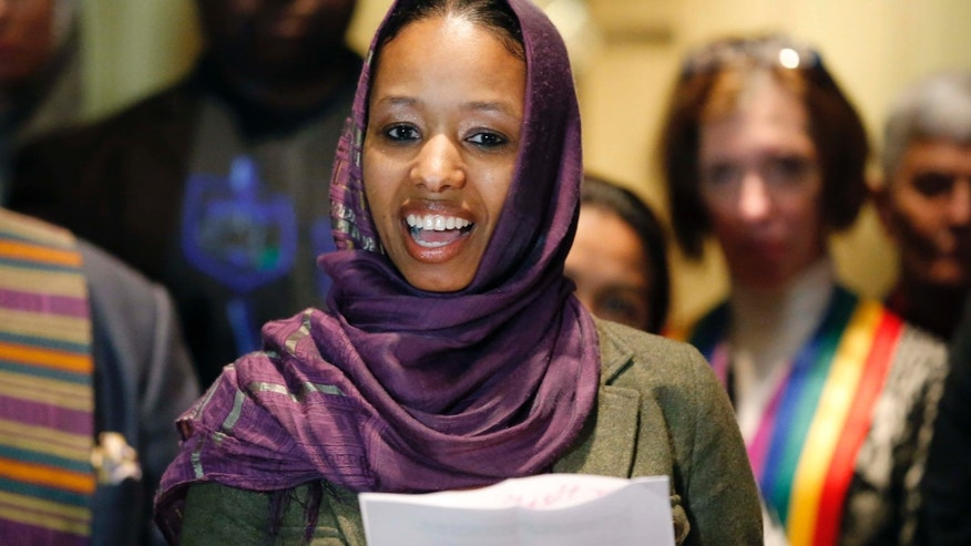 Dec. 16, 2015: Wheaton College associate professor Larycia Hawkins talks to reporters during a news conference in Chicago.
