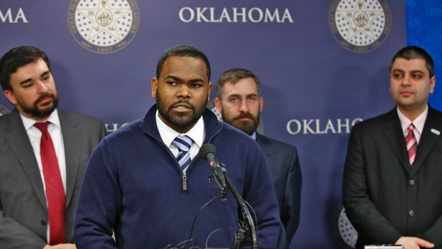 Feb. 17, 2016: Raja'ee Fatihah speaks to members of the media at the state Capitol in Oklahoma City.