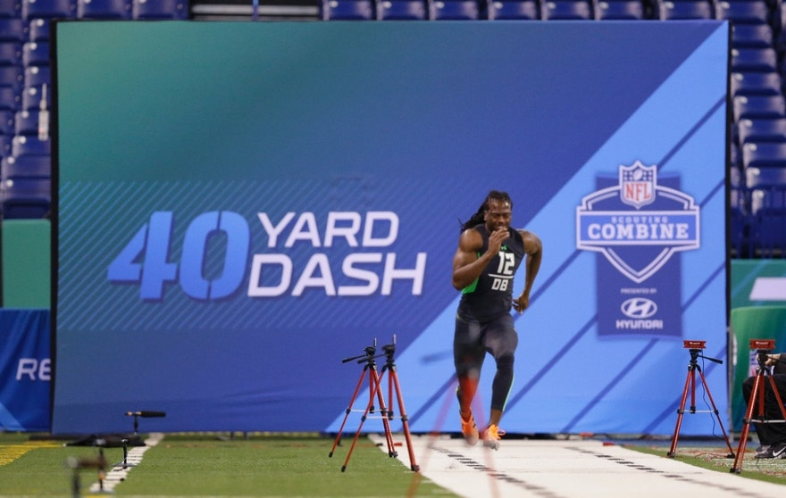 Virginia defensive back Maurice Canady runs the 40-yard dash at the NFL football scouting combine in Indianapolis, Monday, Feb. 29, 2016. . (AP Photo/Michael Conroy)