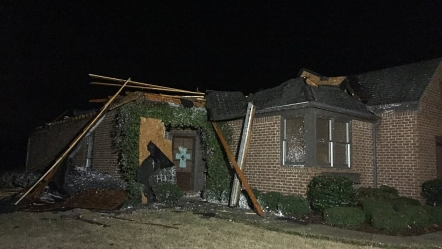 A damaged home in Bessemer, Ala.