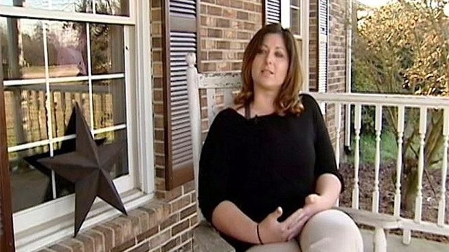 In this undated image made from video and provided by WYFF News-4, Teacher Leigh Anne Arthur speaks to a reporter in Union County, S.C.  (WYFF News-4 via AP)