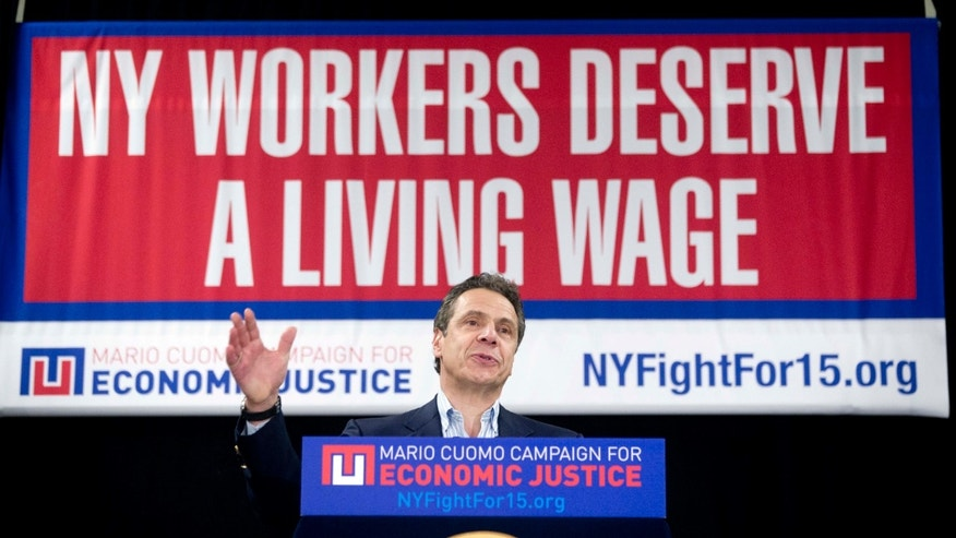 New York Gov. Andrew Cuomo speaks during a rally to raise the minimum wage on Thursday, Feb. 25, 2016, in Albany, N.Y.
