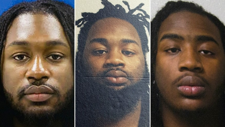 These images provided by Prince George's County police show Michael Ford, Malik Ford and Elijah Ford, the three suspects involved in the shooting Sunday of Prince George's County police officer Jacai Colson. Colson was declared dead later in a hospital. The gunman, Michael Ford, 22, was expected to survive, along with Malik, 21, and Elijah, 18.