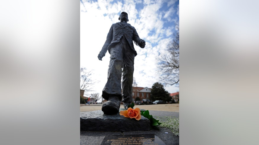 The James Meredith statue in 2014.