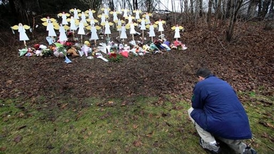 A memorial to Sandy Hook Elementary School shooting victims in Newtown, in 2012.