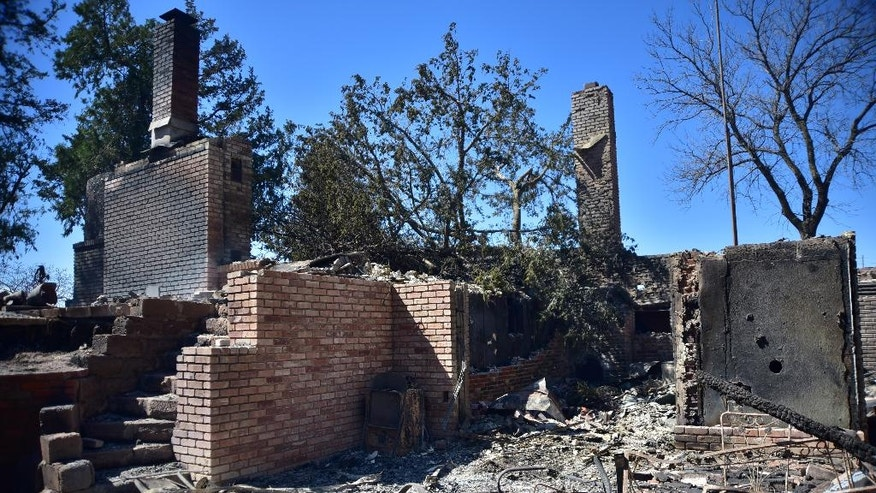 Fire damage to a home Thursday near Medicine Lodge, Kan.