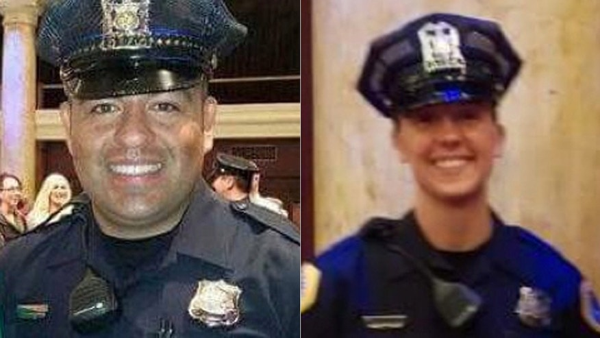 Des Moines officers Carlos Puente-Morales, left, and Susan Farrell.