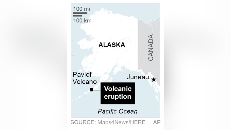 Map locates Pavlof Volcano in Alaska; 1c x 2 1/2 inches; 46.5 mm x 63 mm;