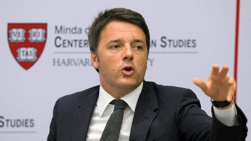 Italian Premier Matteo Renzi speaks at Harvard University's Center for European Studies in Cambridge, Mass., as he continues a four-day U.S. visit, Thursday, March 31, 2016. (AP Photo/Michael Dwyer)