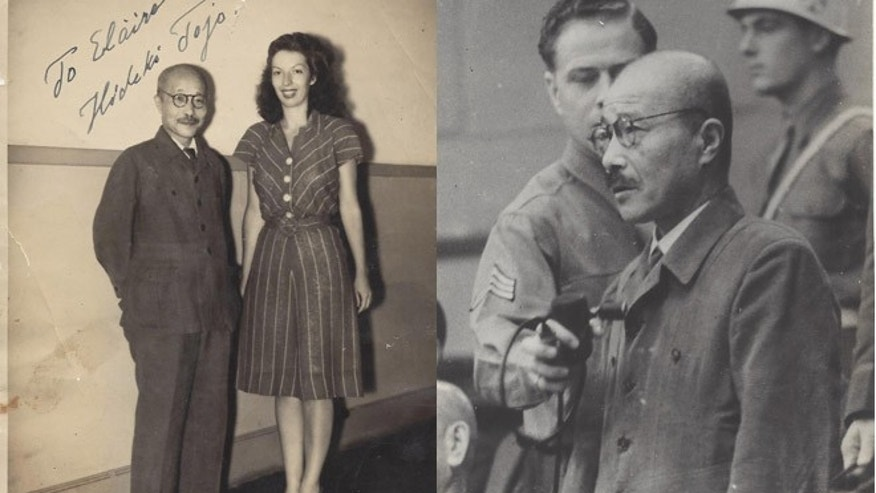 Above, Fischel with Hideki Tojo, the Japanese army general and prime minister, also at right while on trial, who ordered the attack on Pearl Harbor. (Courtesy: Elaine Fischel)