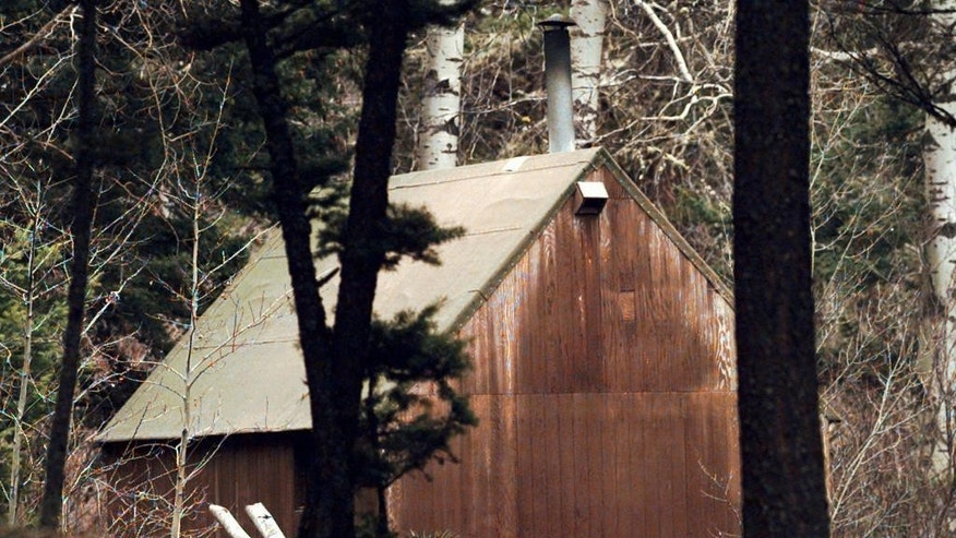 FILE - This April 6, 1996 file photo shows Ted Kaczynski's cabin in the woods of Lincoln, Mont. Twenty years after the arrest of Kaczynski, better known as the Unabomber, some Lincoln residents remember him as an odd recluse who ate rabbits and lived without electricity, while others say he had a funny, personable side. Kaczynski is serving a life sentence in a federal prison in Florence, Colorado, for a series of bombings, most through the mail, that killed three people and injured 23 others over 17 years. (AP Photo/Elaine Thompson, File)