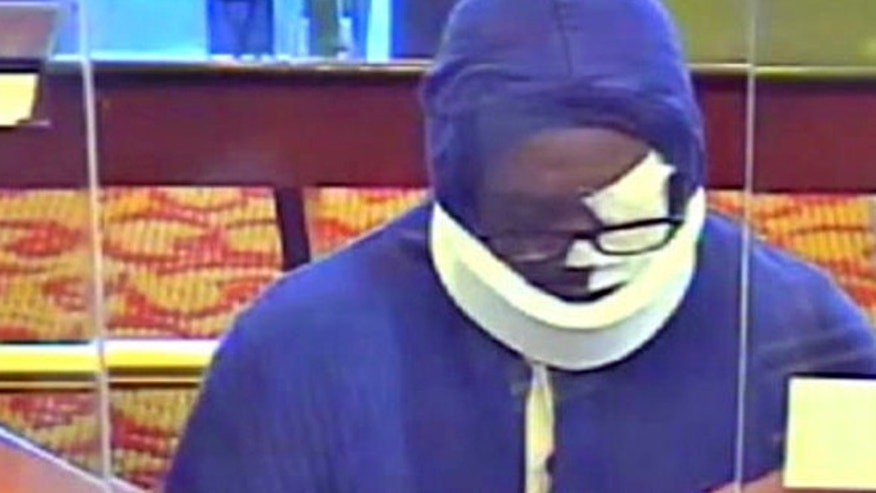 Authorities say a bank robber who disguises himself with bandages, glasses and a neck brace and has hit nine Maryland banks.