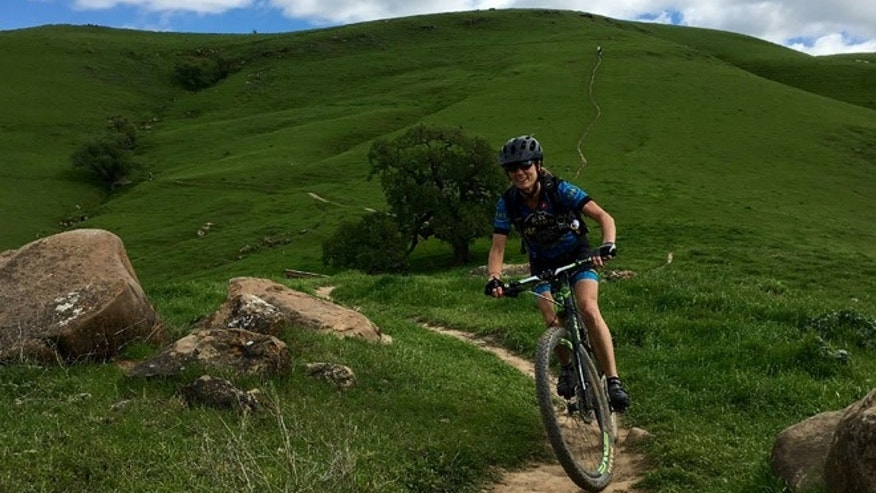 Cycling family: Robin Huffman, on a trail outside of Marin County. (Courtesy: Vernon Huffman)