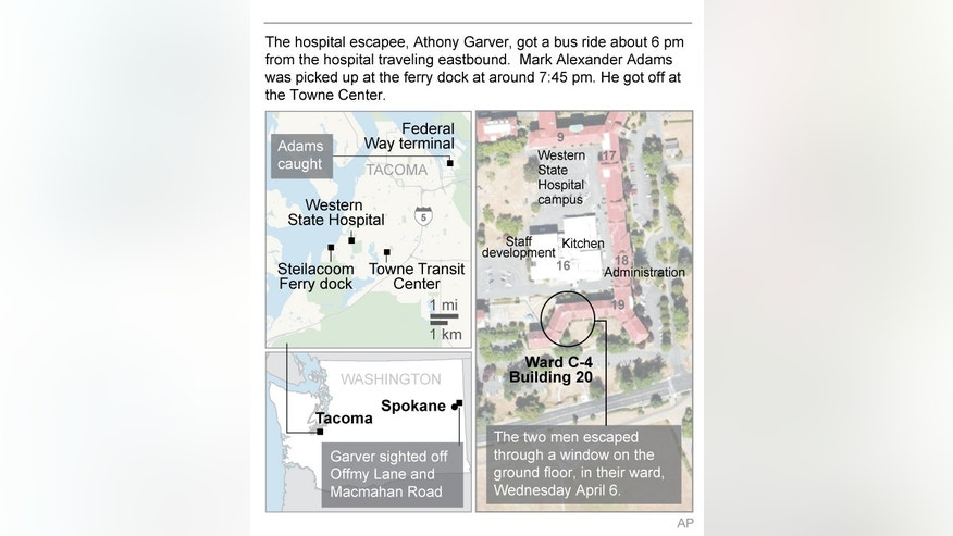 Diagram and map  shows details of psychiatric facility escape in Washington State.; 2c x 4 inches; 96.3 mm x 101 mm;