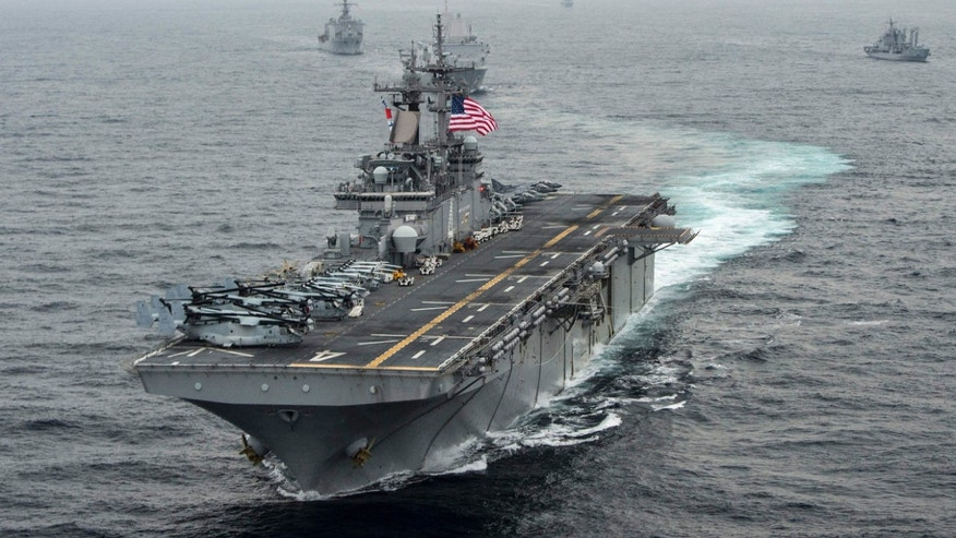 The amphibious assault ship USS Boxer transits the East Sea during Exercise Ssang Yong.