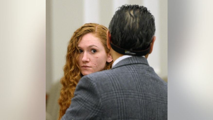 Jasmine Bridgeman stands with her attorney Ronald Fujino in the courtroom during sentencing at the Davis Justice Center in Farmington, Monday, April 11, 2016. A Utah judge handed down the maximum sentence Monday to Bridgeman, a mother who acknowledged lying to investigators after what police call her 2-year-old son's beating death over potty training at the hands of her boyfriend. The judge gave Bridgeman at least a year and up to 15 years at the Utah State Prison. A parole board will decide exactly how long she serves. (Steve Griffin/The Salt Lake Tribune via, Pool)