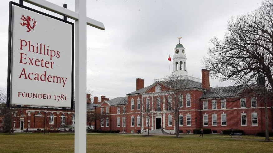Part of the campus of the prestigious Phillips Exeter Academy is seen Monday, April 11, 2016, in Exeter, N.H. Phillips Exeter Academy, which was founded in 1781, acknowledged in March 2016 that a teacher was forced into retirement in 2011 after admitting to two cases of sexual misconduct dating back to the 1970s and '80s. Some of the distinguished New England boarding schools that have long been training grounds for America's elite are facing a reckoning with alumni and students coming forward with complaints of sexual abuse at the hands of schoolmates and teachers. (AP Photo/Jim Cole)