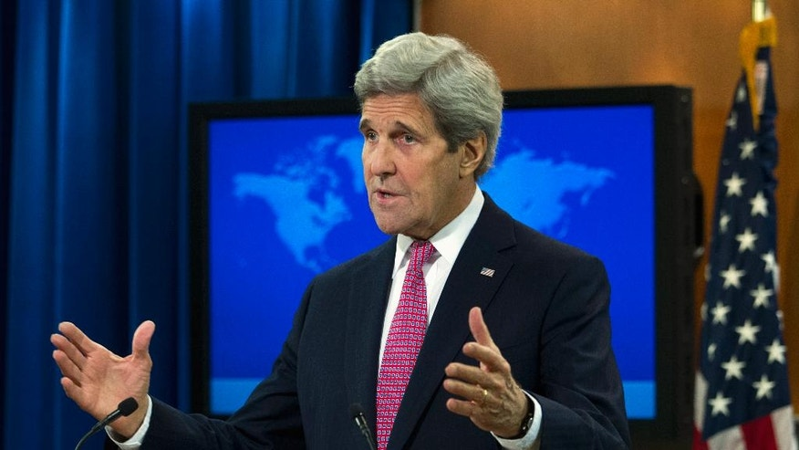 Secretary of State John Kerry presents the 2015 Country Reports on Human Rights Practices, Wednesday, April 13, 2016, at State Department in Washington.  ( AP Photo/Jose Luis Magana)