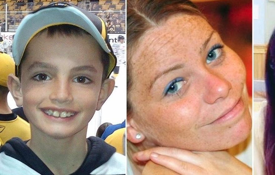 FILE - This combination of undated family photos shows, from left, Martin Richard, 8, Krystle Campbell, 29, and Lingzi Lu, a Boston University graduate student from China. Richard, Campbell and Lu were killed in the bombings near the finish line of the Boston Marathon on April 15, 2013, in Boston. (AP Photo/File)