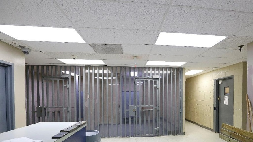 FILE - This July 22, 2015, file photo, shows the inside of the Waller County jail in Hempstead, Texas. Several recommendations issued by a panel investigating the small-town Texas jail where Sandra Bland died could be difficult to implement, including a call to separate sheriff and jail operations that may run afoul of state law. (AP Photo/Pat Sullivan, File)