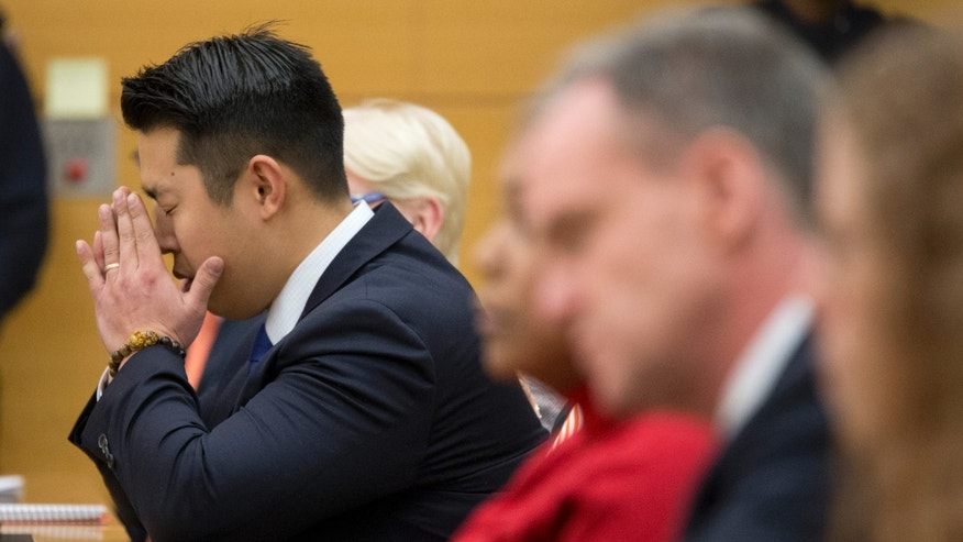 Former police officer Peter Liang reacts as the verdict is read during his trial.