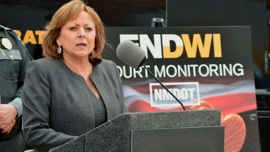 April 19, 2016: New Mexico Gov. Susana Martinez talks on a new program that will send monitors to courtrooms to watch how judges rule on cases involving suspects with multiple drunken driving convictions, during a news conference in Albuquerque, N.M.