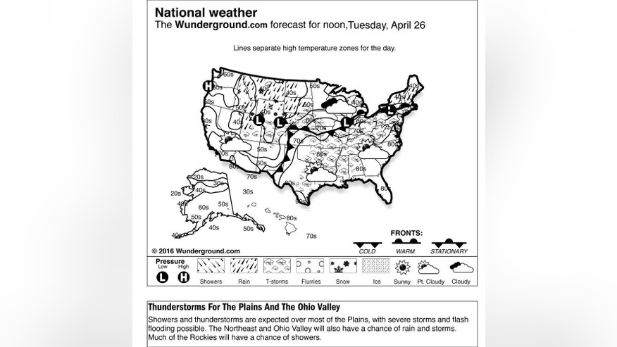 This is the Weather Underground forecast for Tuesday, April 26, 2016, for the United States.  Showers and thunderstorms are expected over most of the Plains, with severe storms and flash flooding possible. The Northeast and Ohio Valley will also have a chance of rain and storms. Much of the Rockies will have a chance of showers. (Weather Underground via AP)