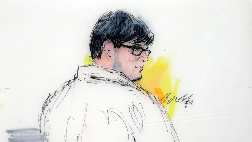 FILE - In this Dec. 21, 2015 courtroom file sketch, Enrique Marquez Jr. appears in federal court in Riverside, Calif. Marquez, who faces charges for buying the rifles used in the San Bernardino attack, is asking that his trial be moved from July to March 2017. In a Friday, April 29, 2016 filing in federal court, attorneys for Marquez say there's too much evidence involved to make a July trial practical or fair to their client.  (Bill Robles via AP, File)