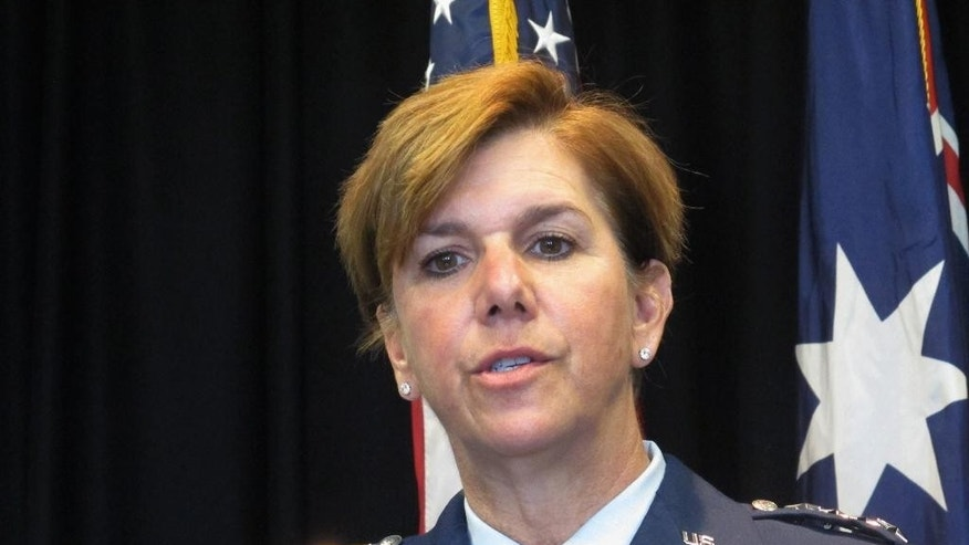 FILE - In this March 8, 2016 file photo, Gen. Lori Robinson speaks to reporters at the U.S. Embassy in Canberra, Australia. The Senate has confirmed an Air Force general to be the first female officer to lead one of the military's warfighting commands. By voice vote late Thursday, April 28, 2016, the Senate approved Robinson to be commander of U.S. Northern Command. The command is responsible for preventing attacks against the U.S. (AP Photo/Rod McGuirk, File)