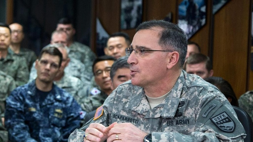FILE - in this April 26, 2014 file photo, U.S. Army Gen. Curtis Scaparrotti speaks at the U.S. Army Garrison Yongsan, South Korea. The Senate confirmed Army Scaparrotti to be the top American commander in Europe.  (AP Photo/Carolyn Kaster, File)