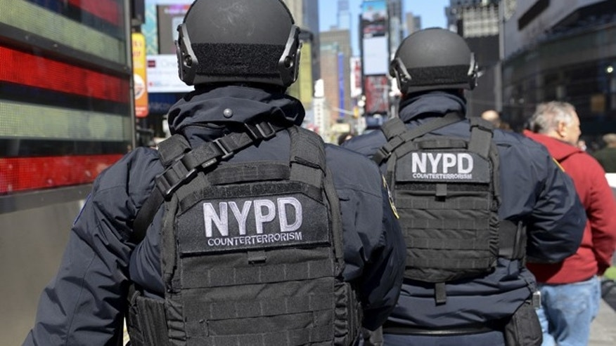 MARCH 22: Members of the NYPD Joint Terrorism Task Force patrol in Times Square.