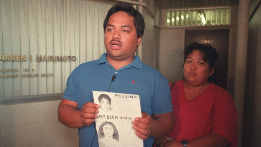 "FILE - In this April 27, 1998 file photo, Peter Kema Sr. and Jaylin Kema, parents of missing Hawaii boy Peter Kema, known as ""Peter Boy,"" speak in Honolulu."