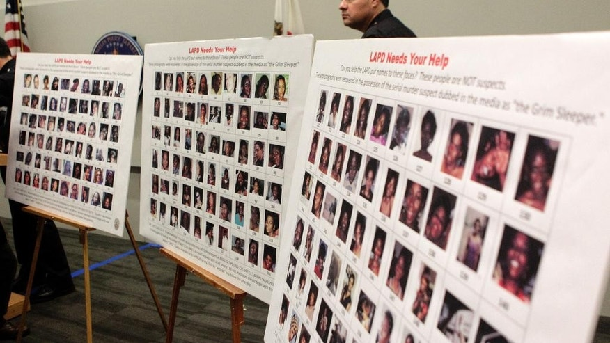 "FILE - In this Dec. 16, 2010, file photo, photographs found in the possession of Lonnie David Franklin Jr. are shown during a news conference in Los Angeles. The trial of alleged ""Grim Sleeper"" is headed to a close Monday, May 2, 2016, after months of testimony about the serial killer who stalked women during the 1980s crack cocaine epidemic. (AP Photo/Jae C. Hong, File)"