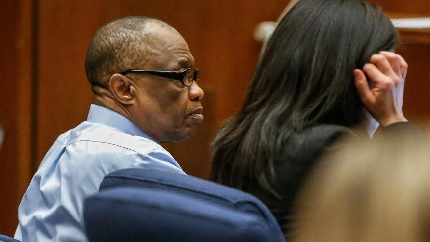"FILE- In this Feb. 16, 2016, file photo, Lonnie Franklin Jr., left, appears in Los Angeles Superior Court for opening statements in his trial in Los Angeles.  The ""Grim Sleeper"" serial killer trial is coming to a close in Los Angeles after months of testimony. Closing arguments were scheduled to begin Monday, May 2, 2016, in the trial of Franklin. He's charged with killing nine women and a 15-year-old girl between 1985 and 2007. They were shot or strangled and their bodies dumped in alleys and trash bins in South Los Angeles and nearby areas. (Al Seib/Los Angeles Times via AP, Pool, File)"