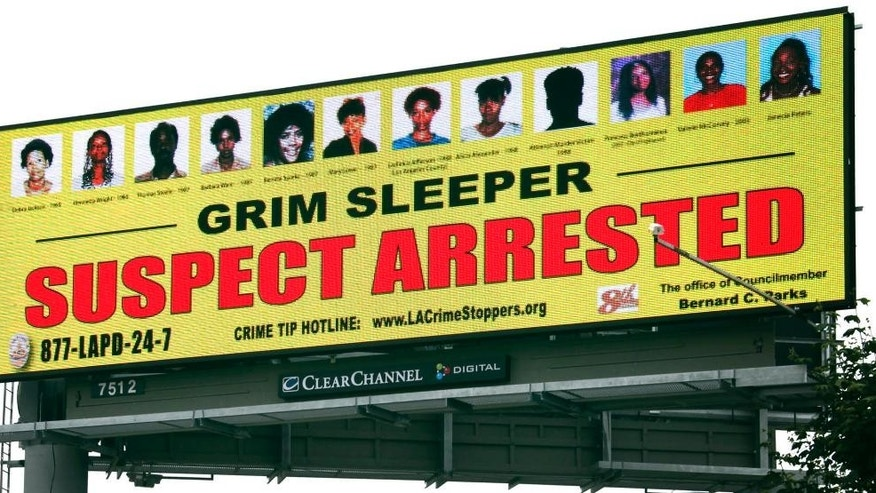 "FILE - In this July 9, 2010, file photo, a billboard showing that the suspect known as the ""Grim Sleeper"" had been arrested stands near a freeway in Compton, Calif. The trial of alleged ""Grim Sleeper"" is headed to a close Monday, May 2, 2016, after months of testimony about the serial killer who stalked women during the 1980s crack cocaine epidemic. (AP Photo/Nick Ut, File)"