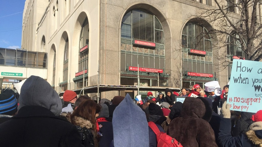 Protesters outside the Detroit Public Schools headquarters in January.