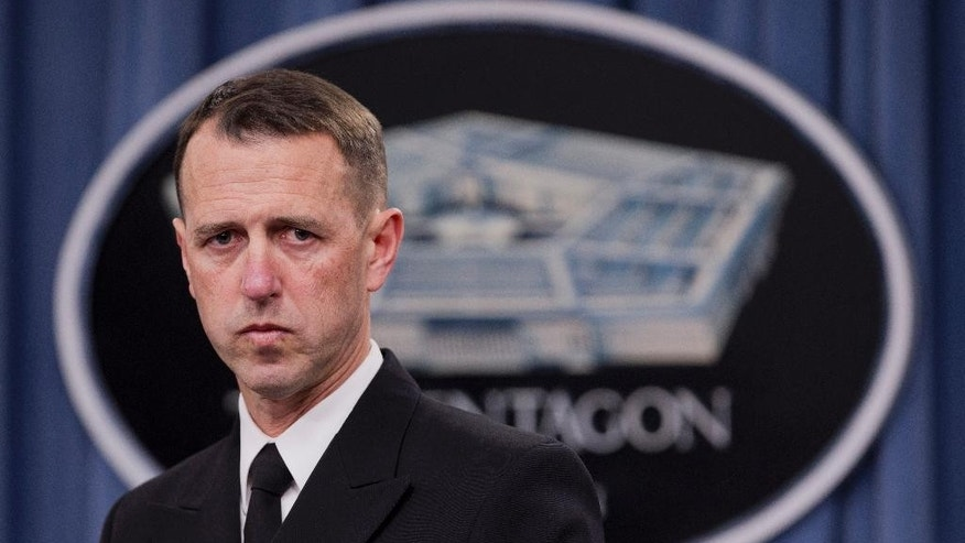 "FILE - In this Feb. 4, 2014 file photo, Adm. John M. Richardson speaks during a news conference at the Pentagon. Russian jets buzzing a U.S. military ship and planes in the Baltics are escalating tension between the two nations, the chief of naval operations said Monday, May 2, 2016. ""My hope is that we can stop this sort of activity,"" Richardson told reporters at the Pentagon. (AP Photo/Manuel Balce Ceneta, File)"