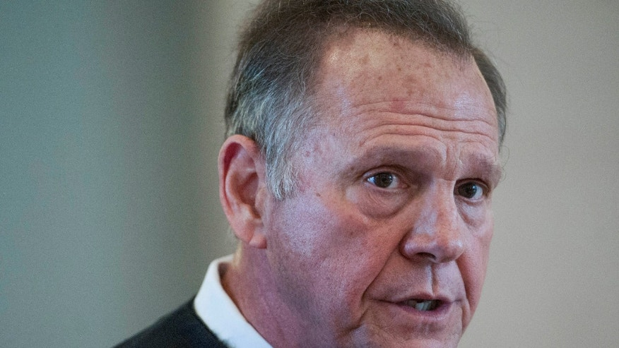 April 27, 2016: Roy Moore, Chief Justice of the Alabama Supreme Court, speaks during a news conference at the Judicial Building in Montgomery, Ala.
