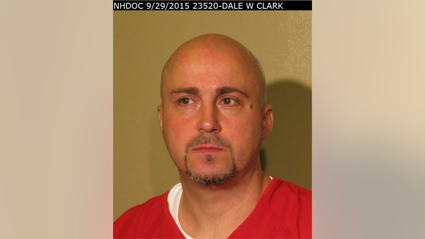 This Sept. 29, 2015, photo provided by the New Hampshire Department of Corrections shows Dale Wayne Clark. New Hampshire corrections officials say two inmates 45-year-old Jonathan Conrad Ellinger and 42-year-old Clark have escaped from from a minimum security halfway house in Concord, N.H. The two were reported missing from the transitional housing unit around 9 p.m., Saturday, May 7, 2016. (New Hampshire Department of Corrections via AP)