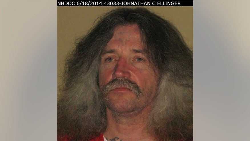 This June 8, 2014, photo provided by the New Hampshire Department of Corrections shows Jonathan Conrad Ellinger. New Hampshire corrections officials say two inmates 45-year-old Ellinger and 42-year-old Dale Wayne Clark have escaped from a minimum security halfway house in Concord, N.H. The two were reported missing from the transitional housing unit around 9 p.m., Saturday, May 7, 2016. (New Hampshire Department of Corrections via AP)