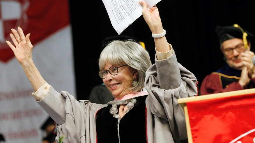 Rita Moreno waves after rapping most of her commencement address during Berklee College of Music commencement ceremonies in Boston, Saturday, May 7, 2016. (AP Photo/Michael Dwyer)