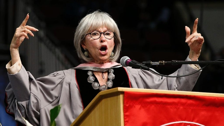 Rita Moreno raps her commencement address during Berklee College of Music commencement ceremonies in Boston, Saturday, May 7, 2016. (AP Photo/Michael Dwyer)
